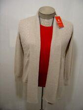 King Womens 100% Cashmere Sweater M Shawl Cardigan Open Front Rib Knit Tan Khaki