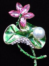 """PINK GREEN RHINESTONE PEARL POND WATER LILY FLOWER PIN BROOCH JEWELRY 2.5"""" 3D"""