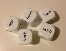 Parts of Speech Dice White 18mm (pack of 5) - Literacy Teaching Resource D092