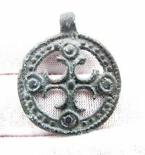 MEDIEVAL/CRUSADERS ERA BRONZE MEDALLION W/ CROSS - RARE WEARABLE ARTIFACT - F87