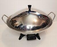 Vintage Farberware Electric Wok Fry Pan Stainless Steel With Steamer Rack Insert