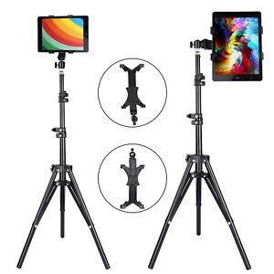 Adjustable Height Tablet Floor Stand Foldable Tripod Mount Holder For iPad Tab