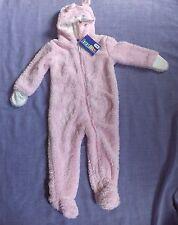 LUPILU Moelleux Doux Bébé Tout-en-un costume avec capuche, ZIP complet, Âge 6-12 M, rose