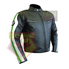 BMW 3874 GREEN MOTORBIKE COWHIDE LEATHER MOTORCYCLE BIKERS ARMOURED JACKET