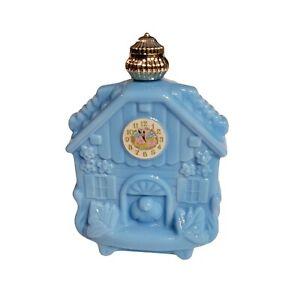 "Avon Vintage Cuckoo Clock Blue Milk Glass Perfume Btl. With Perfume 5"" Pre-owned"