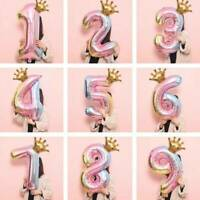 "32"" Huge Crown Number Foil Balloon Digit Ballon Birthday Party Decor Colorful UK"