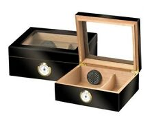 LIMITED QUANTITY! Capri Ebony Glasstop Cigar Humidor Kit