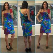 b89ddcf1ba80c DAISY BLUE ruffle cold one shoulder dress 14 sexy stretch bodycon BRIGHT  FLORAL