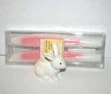 YANKEE CANDLE EASTER WHITE BUNNY TAPER HOLDER & BUNNY EAR TAPER CANDLES