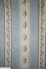 Art nouveau French EMBROIDERED ticking pannel STRIPES COTTON fabric c1910