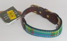 "Auburn Leathercrafters American Traditions Green Plaid Dog Pet Collar 11-14"" New"