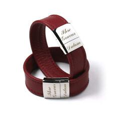 Damenarmband Herrenarmband Lederarmband Armband mit Gravur Edelstahl LA-N(R)