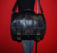 FOSSIL NEVADA Black Rugged Large Leather Messenger Cross-Body Purse Bag Carryall