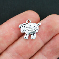 8 Sheep Charms Antique Silver Tone 2 Sided Lamb - SC3821