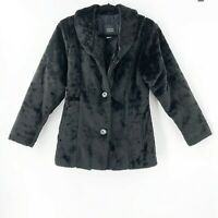 Nils Women's Size Medium Faux Fur Black Jacket Button Front Super Soft USA Made