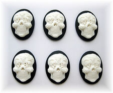 6 Goth Punk Day of Dead WHITE color SUGAR SKULL on BLACK 25mm x 18mm CAMEOS LOT