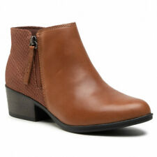 Clarks Ladies Mahogany Leather Boots Size UK 6.5 D