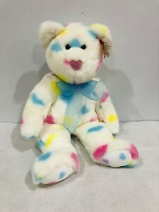 TY BEANIE BUDDY 2002 *Kissme* Bear Large White New With Tags *Love Heart Nose!!*