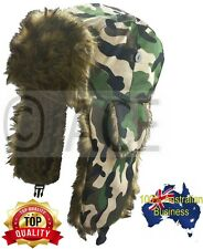 Mens Womens Winter Warm Aviator Camo Ear Warmer Winter Faux Fur Trapper Hat