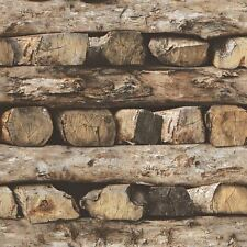 STACKED LOGS WALLPAPER - RASCH 931808 - NEW WOOD EFFECT
