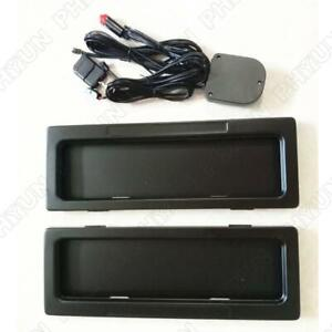 Pair AU Car License Plate Frame Holder Electric Turn Blinds Covers w/ Remote