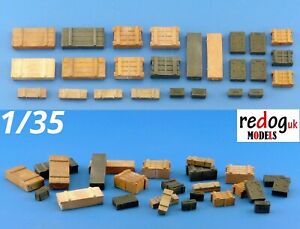 Redog 1/35 Boxes and Crates Mix - 25 Pieces -  Scale Model /Stowage Kit