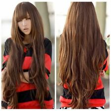 Lady Hot Style Anime Long Wavy Curly Bangs Hair Costume Brown Wig Cosplay Cap
