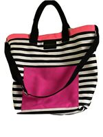 Victoria's Secret Pink White Black Striped Large Tote Weekender Beach Travel Bag