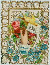 Votivkarte, Votivbild m. floralem Zierwerk u. Darstl. Jesu, 19. Jhd.