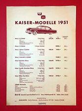 Preisliste Automobil 1951 KAISER Modelle Henry J, Kaiser Rotterdam  ( F13417