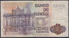 BILLETE ESPAÑA - 5.000 PTAS. ERROR DOBLE IMPRESION REVERSO - AÑO 1979 - RARO ¡¡¡