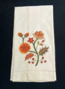 "Bath Hand Towel 100% Cotton Floral Design Machine Embroidered 22.5 x 13.5"""