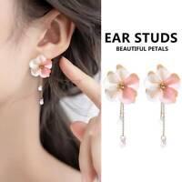 Charm Women Pink Acrylic Crystal Flower Ear Drop Dangle Long Chain Earrings Gift