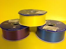 3 x Apac 100 Yards Poly Ribbon YELLOW BLUE & PURPLE Florist Craft Wedding