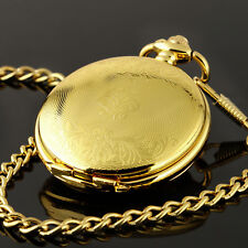 Mens Mechanical Watch Pocket Skeleton Black Gold Chain Retro Vintage Wind-Up Man