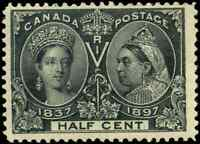 Canada #50 mint F OG DG 1897 Queen Victoria 1/2c black Diamond Jubilee CV$70.00