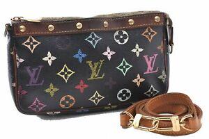 Auth Louis Vuitton Monogram Multicolor Pochette Accessoires Black Pouch LV A7380