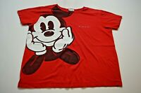 Vintage Disney Mickey Mouse T-Shirt Size XL Red Retro Embroidered Womens