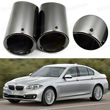 2x Car Exhaust Muffler Tip Tail Pipe Trim Black for BMW 5-Series 2008-2016 #1076