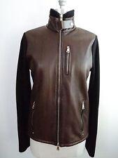 NEW RALPH LAUREN Black Label brown leather and black knit zip front jacket sz M