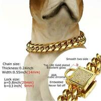 14mm Gold Stainless Steel Curb Chain Pet Dog Choker Collar Rottweiler Pit Bull