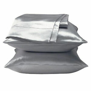 2 Standard / Queen size SATIN Pillow Cases / Covers SILVER COLOR - Brand New
