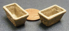 1:12 Scale 2 Oblong Brick Effect Stoneware Pots Dolls House Flower Garden