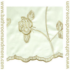 """Gold Floral Embroidery Drapery Window Curtain Panel w/ Attached Valance 54""""x90"""""""
