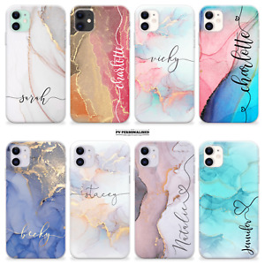 PERSONALISED NAME MARBLE COVER SILICONE PHONE CASE FOR IPHONE 12 SE 11 XR 7 GIFT
