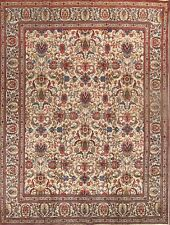 Antique All-Over Floral Ivory 10x13 Tabriz Persian Oriental Area Rug 12' 7 x 9'7