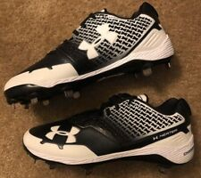 Under Armour Heater Charged Metal Baseball Cleats Men's Size 11 Black White