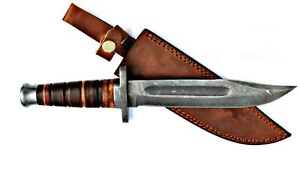 Damascus Hunting, Survival 13.5 Knife, K-Bar Style, Stacked Leather Handle