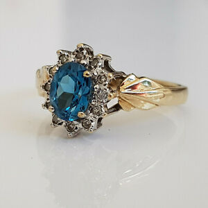 9ct Yellow Gold Sapphire & Diamond Cluster Ring Size P Art Deco Style 3.1 Grams