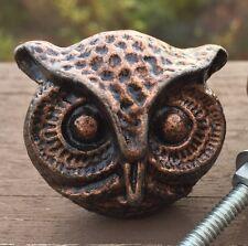SET 2 OWL KNOBS COPPER TONE HANDLES HARDWARE DRESSER FURNITURE CHIC